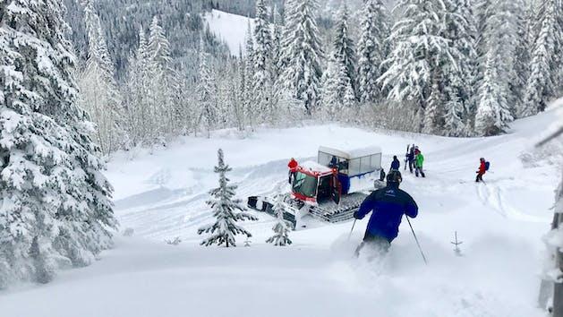Cat skiing selkirk powder down to cat