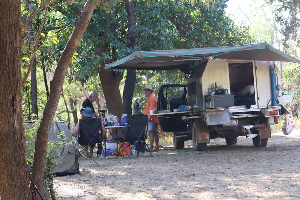 Camping in Australia swag 4wd bed