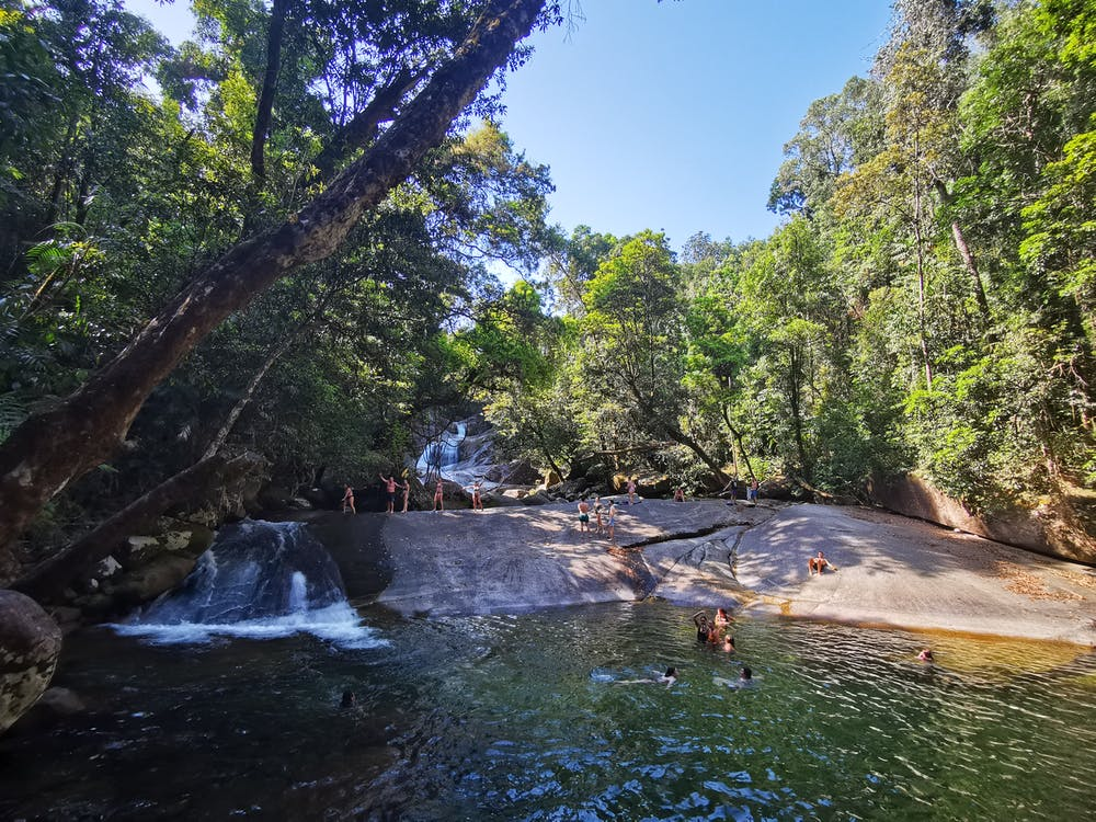 View of Josephine falls bottom swimming hole and cascading waterfalls