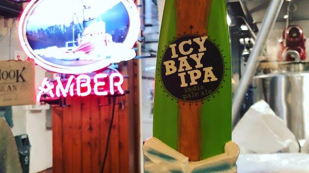 Beer taps in Alaskan Brewery Tour