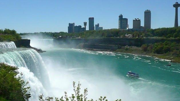 A Niagara Falls freedom tour against the Toronto skyline.