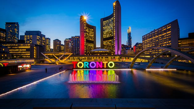 Toronto's City Hall at night.