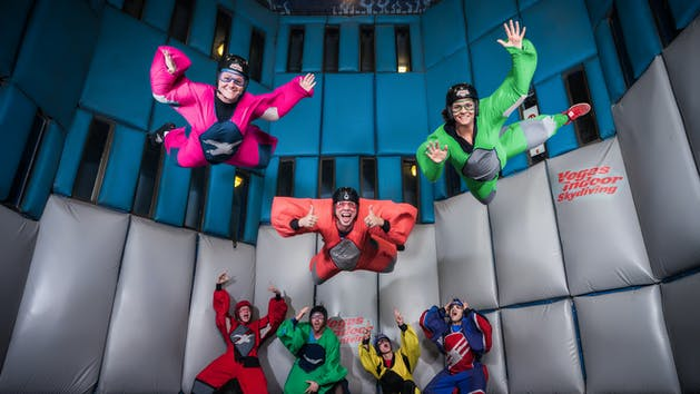 all the different colors of suits available at vegas indoor skydiving
