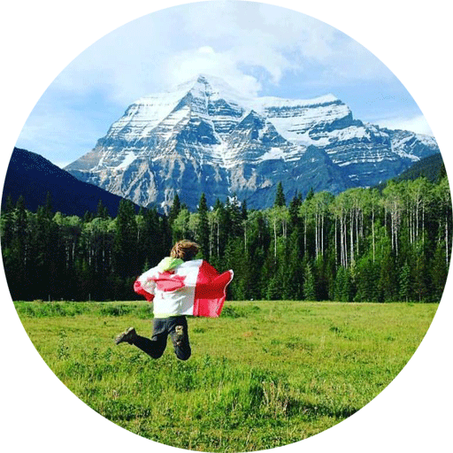Jumping with a Canadian Flag