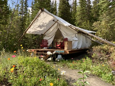 glamping tent in a garden