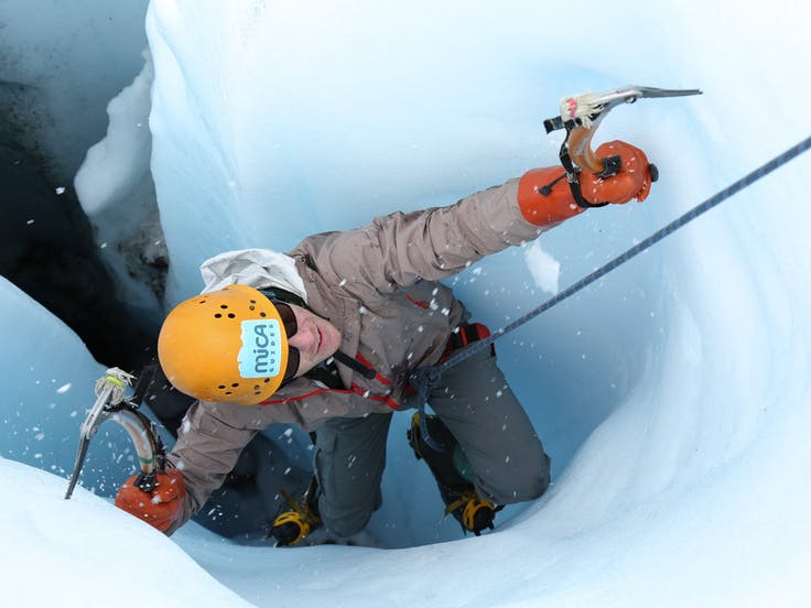 Ice Climbing on Glacier