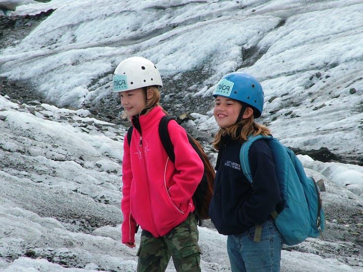 Two kids trekking