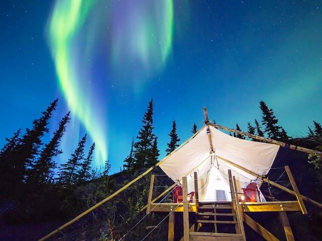 northern lights over campsite