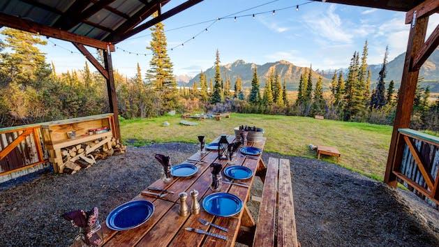 Dinner, glamping, Alpenglow Luxury Camping dinner, Mountain Views