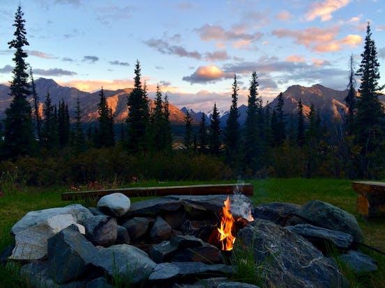 campfire in rocks