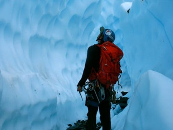 guy in ice cave