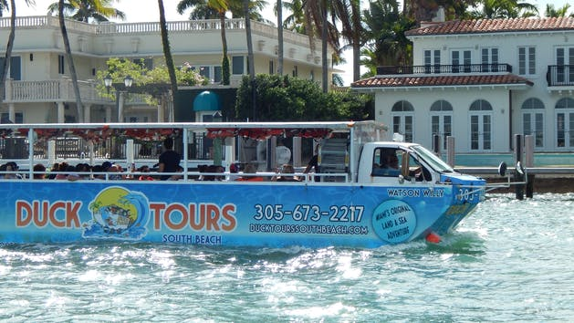 duck tours south beach boat in the bay