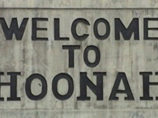 Welcome to Hoonah sign
