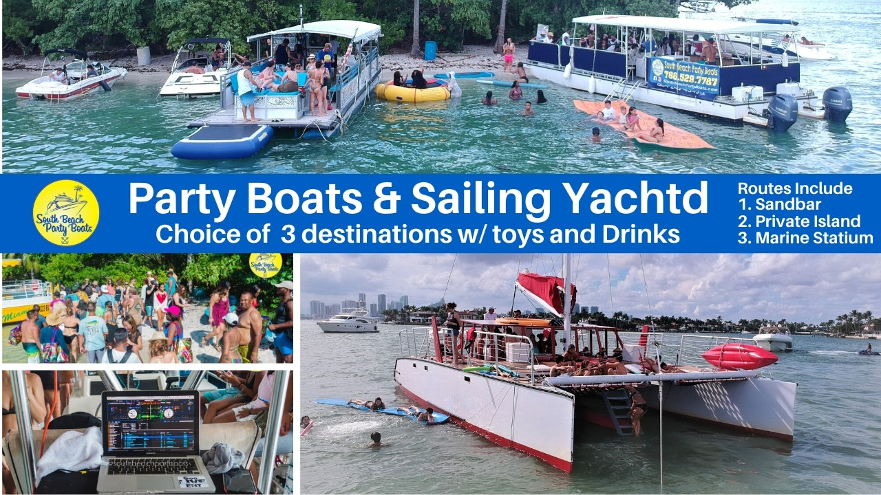 Miami Yacht Party South Beach boat party and party boat rentals in Miami