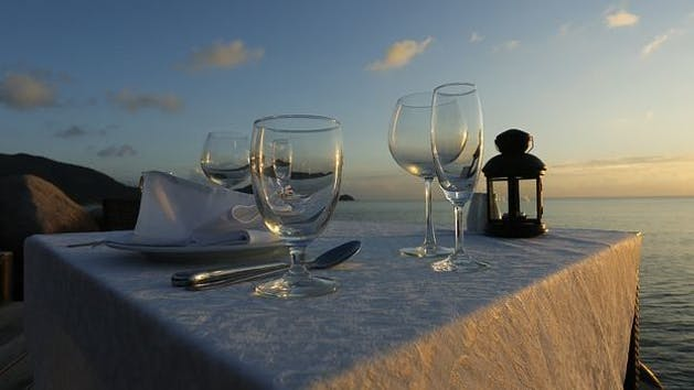 Dinner Cruise Place Setting at Sunset