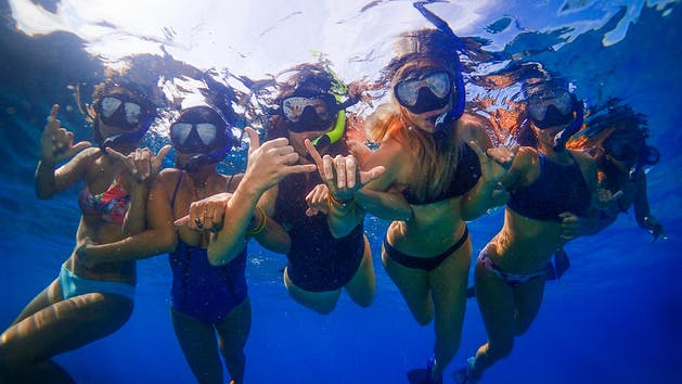 group of girls snorkeling