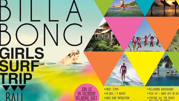Billabong Girls Bali Surf Trip flyer