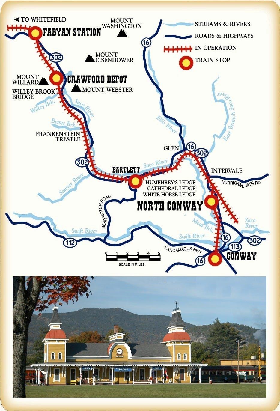 Railroad Routes Map | Conway Scenic Railroad