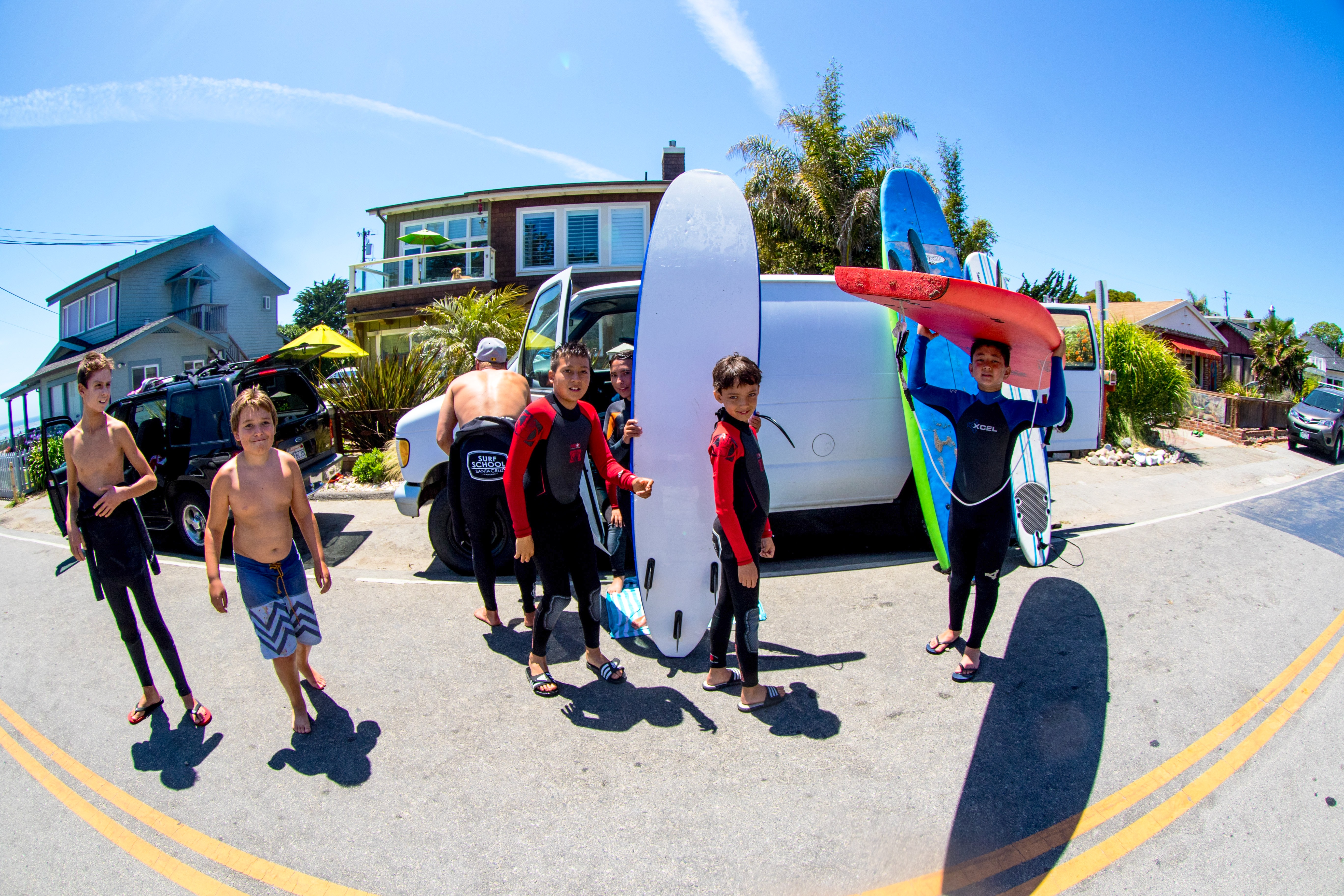 Group of young surf students
