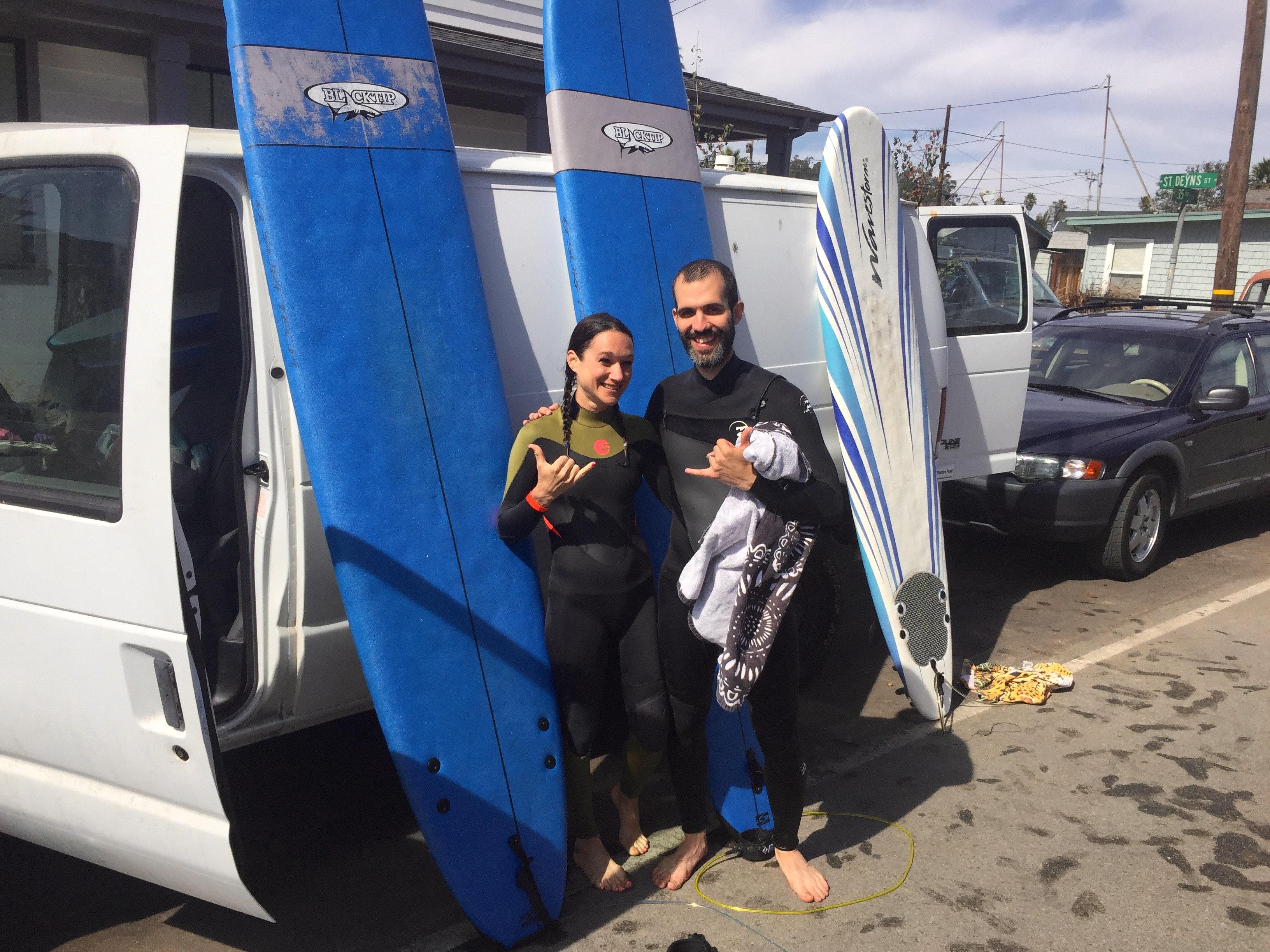 Surfers getting ready in Santa Cruz